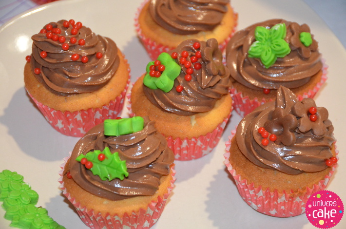 D coration cupcakes de no l en sucre chocolat blog for Decoration pate a sucre